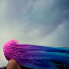 Girl With Long, Pink Purple Blue Dip Dye Ombre Gradient Hair