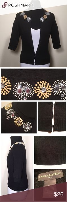 💖Banana Rep. Jewel Cardigan XS/S💖 🚫Trades/Holds🚫 BR Cardigan *  White/mustard yellow beading w/ rhinestones, jet black body *  Super soft cashmere/cotton/spandex blend *  ¾ sleeves, sleek and stretchy fabric *  Full length hook & eye closure (only partially closed in pics) *  Size S, fits like XS IMO, flat measurements: bust=16.5, length=21.5, sleeve=16.25, bottom width=14.25 *  Pre-loved, excellent condition – worn 2x, no missing beads, no stains/rips/holes/pilling Questions are…