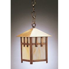 Northeast Lantern Lodge 1 Light Outdoor Hanging Lantern Finish: Dark Brass, Shade Type: Caramel