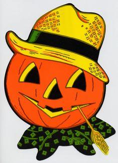 a3ad09c2d92 Jack-o-lantern with straw hat - (Vintage Beistle Halloween Decoration)  Halloween