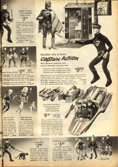 Lower middle left - this is the 1967 ad for the regular Batgirl doll - the Sears exclusive blonde version is worth a small fortune now since not many were made. Christmas Catalogs, Christmas Books, Vintage Christmas, 1960s Toys, Retro Toys, Gi Joe, Childhood Toys, Childhood Memories, Comic Book Heroines
