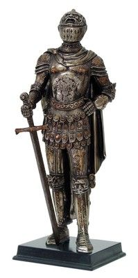 "Medieval Knight of Valor Suit of Armor Premier General Statue 12"" Tall Figurine"