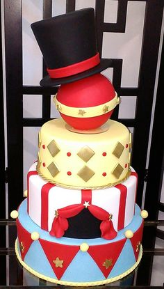 Carnival Party Decorations, Circus Theme Party, Carnival Birthday Parties, Circus Birthday, 40th Birthday, Party Themes, Magician Party, Magic Theme, Circus Cakes