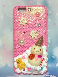 Cute iPhone 8plus 8 7+ pink phone case winter snowman decoden on glittering case