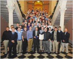 Clinton-Massie High School Ohio State Football Champions for their league, pictured with Governor Kasich and State of Ohio Representative, Cliff Rosenberger, a Clinton-Massie Alum.  Clinton-Massie is in Clinton County, Ohio - Neighboring Wilmington, Ohio. Photographer unknown.