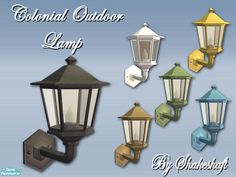 A new mesh set Colonial Outdoor Wall Lamp, recolours included, white,blue,green,brass and yellow, rusty and a broken glass texture....  Found in TSR Category 'Sims 2 Downloads'