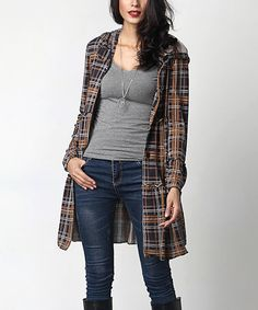 This Charcoal & Brown Plaid Tiered Hooded Cardigan is perfect! #zulilyfinds