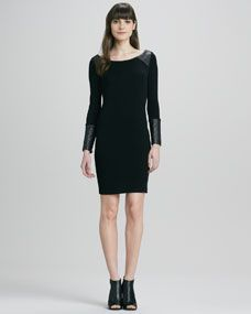Daynah Leather-Accent Dress