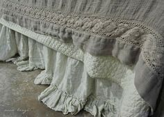 Bedding bedroom shabby chic French country rustic Swedish decor idea. ***Pinned by oldattic ***.