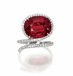 GORGEOUS! Ruby and Diamond Ring, Taffin Love the double wrap like this more than the snake version.