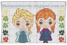 Frozen Cross Stitch, Mini Cross Stitch, Cross Stitch Borders, Cross Stitch Charts, Cross Stitch Patterns, Disney Stitch, Cat Cross Stitches, Cross Stitching, Hama Art