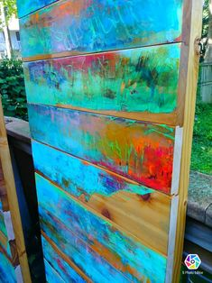Woodworking Supply Near Me Turquoise Furniture, Funky Painted Furniture, Paint Furniture, Accent Furniture, Furniture Ideas, Painted Doors, Wood Doors, Pool Bathroom, Pallet Art