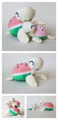 Crochet Watermelon Turtles Amigurumi Free Pattern
