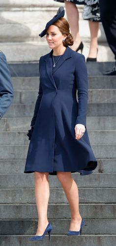 Kate Middleton in Beulah London - After giving birth to Prince George in 2013, the modern royal announced in September 2014 that she was expecting again. Evidently what worked before, worked again: A fan of classic styles, Kate has favored coatdress silhouettes like those from Alexander McQueen, Mulberry, and the navy Beulah London version she sported to a March commemoration ceremony in London.