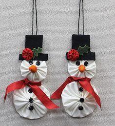 "I enjoy making Yo-Yos, so I thought I would ""whip up"" some Yo-Yo ornaments I. Fabric Christmas Ornaments, Christmas Sewing, Felt Christmas, Homemade Christmas, Christmas Decorations, Snowman Ornaments, Dough Ornaments, Snowman Decorations, Christmas Trees"