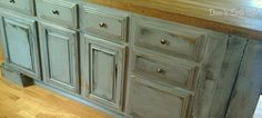 DIY:  Rustic Island Redo - another facelift -  these are plain, builder-grade cabinets! Basic DIY.
