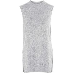 TOPSHOP TALL Sleeveless Knitted Tunic found on Polyvore featuring tops, tunics, dresses, shirts, tank tops, monochrome, henley shirt, shirts & tops, tall tops and sleeveless shirts