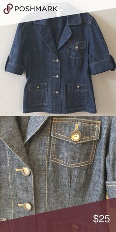 Short Sleeve Denim Jacket 100% Cotton 3 Button Jacket Jackets & Coats Jean Jackets