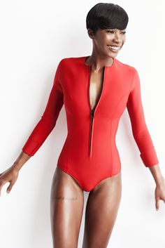 Spring 2015 Ready-to-Wear - Lisa Marie Fernandez Red long-sleeve swimsuit with front zipper.  UPF 50+ I hope!