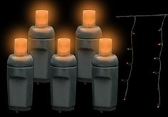 Shop 5MM LED Halloween Icicle Lights in Orange with black wire