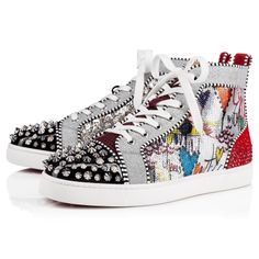 Christian Louboutin OFF!>> Christian Louboutin No Limit High Top Silver Spikes Men Shoes Louboutin Sneakers, Christian Louboutin Mens Sneakers, Cheap Christian Louboutin, Red Louboutin, Christian Dior, Men's High Top Sneakers, Casual Sneakers, Casual Shoes, Men's Sneakers