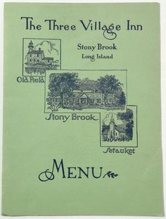 1953 Vintage Menu & Placemat THE THREE VILLAGE INN Stony Brook Long Island NY