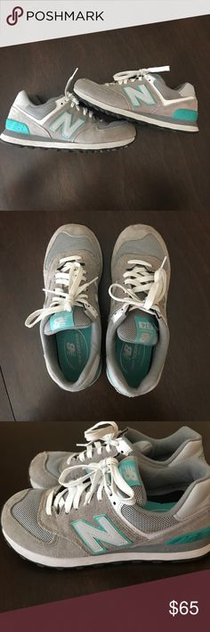 NEW BALANCE 574 CLASSIC SNEAKERS - Gray, sea foam Gray and sea foam new balance classics! EXCELLENT condition!! Only worn a few times, but they are actually a tad too small for me. WOMENS SIZE 8; NORMAL WIDTH. New Balance Shoes Sneakers