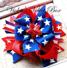4th Of July Hairbow  Red white blue Memorial by VioletsVelvetBox, $8.50