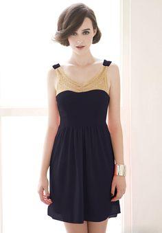 Vestido perlas espalda abierta sin manga-Azul EUR€28.60