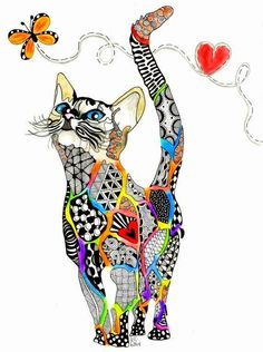 "Zentangle kitten named ""Rainbow Kitty"" dedicated to all animals that have crossed the Rainbow Bridge. Diy Broderie, Cat Quilt, Zentangle Patterns, Zentangles, Zentangle Animal, Zendoodle, Cat Drawing, Art Plastique, Fabric Art"