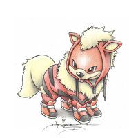 Growlithe wearing an Arcanine Onsie by ItsBirdyArt
