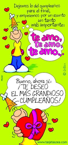 ¡Te deseo el más grandioso cumpleaños! - ツ Imagenes para Cumpleaños ツ Spanish Birthday Wishes, Happy Birthday, Love Is Comic, Love Cards, Home Interior, Quote Of The Day, Birthdays, Humor, Funny