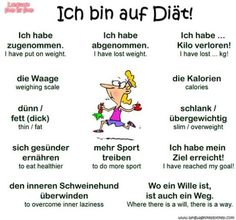 Ich bin auf Diät = I'm on a diet – Esra Dutch Words, German Words, Vocabulary Words, English Vocabulary, Words In Other Languages, Russian Language Learning, English Language, Study German, Deutsch Language