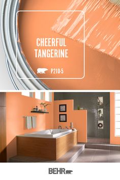 Behr Paint in Cheerful Tangerine brings a mood boosting pop of color to this modern master bathroom. This bright orange hue is a fun way to freshen up the interior design of any space in your home. Click below for full color details to learn more. Orange Paint Colors, Behr Paint Colors, Bathroom Paint Colors, Kitchen Paint Colors, Orange Walls, Paint Colors For Living Room, Interior Paint Colors, Paint Colors For Home, House Colors