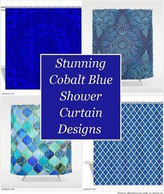 Stunning Cobalt Blue Shower Curtain Designs Curtains Design