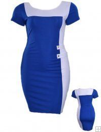 BLUE AND WHITE COLOR BLOCK CASUAL BODYCON DRESS, $19.99
