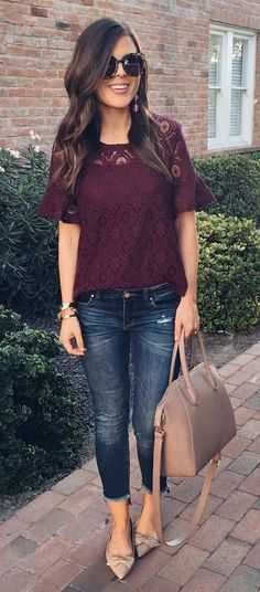 #fall #outfits women's maroon lace blouse and whiskered jeans outfit