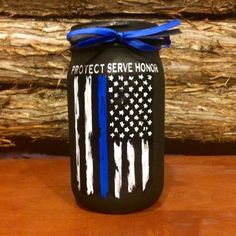 Police Officer Gift, Thin Blue Line Distressed Flag Jar, Custom Police Officer mason jar, Law Enforcement Gift, Protect Serve Honor Police Officer Gift Thin Blue Line Distressed by AmericanaGloriana Police Retirement Party, Police Party, Mason Jar Crafts, Bottle Crafts, Mason Jars, Thin Blue Line Flag, Thin Blue Lines, Police Crafts, Military Crafts