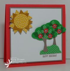 stampercamper.com - tour de freaks - It's time again for the Tour de Freaks Blog Hop and we are featuring sneak peeks from the new catalog.  I LOVE (and I do mean LOVE) the new Ronald McDonald House Charities set and the coordinating Tree Builder Punch.  This is one of the two projects I made.  To see my projects and start the hop, check out my blog.  Set:  Sprinkles of Life