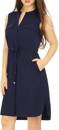 c8b0ae5ffb Allegra K Drawstring Waist Concealed Button Closed Shirt Dress XS Navy Blue  at Amazon Women s Clothing