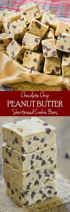 Easy Chocolate Chip Peanut Butter Shortbread Cookie Bites. You'll want these for the holidays!