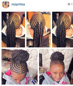 corn rowed hair with extension twists into a bun.