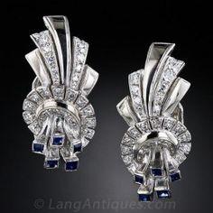 Art Deco Platinum Diamond and Sapphire Ear Clips - Art Deco Jewelry - Vintage Jewelry