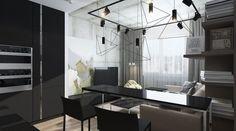 aménager-studio-table-bar-noir-laqué-suspension