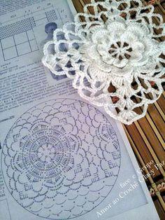 Irish crochet lace rose (8-petal) square ~~ Fiore