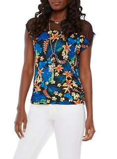 Mesh Yoke Tropical Print Top with Necklace,BLACK