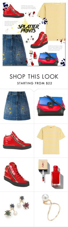 """Splatter Prints"" by polly301 ❤ liked on Polyvore featuring Alice + Olivia, Versace, Giuseppe Zanotti, M.i.h Jeans, Joanna Laura Constantine, Shashi and paintiton"