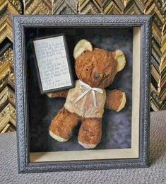 That old stuffed bear you had as a kid can have a new life again and bring back some happy memories, could be a great Valentines Day gift, just sayin'............‪#‎vintage‬ ‪#‎stuffedbear‬ ‪#‎customframing‬ ‪#‎shadowbox‬