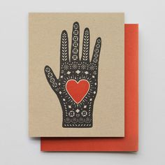 Heart in Hand letterpressed greeting card from HAMMERPRESS