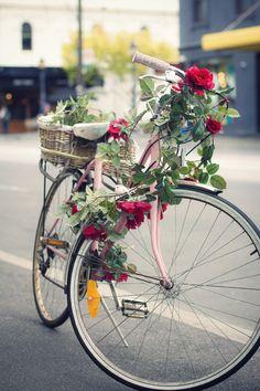Pink bike in Melbourne Australia on Brunswick Street.